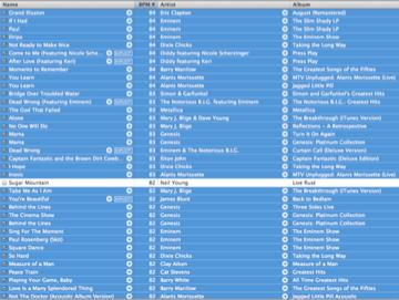 screenshot of iTunes® based playlist - Sugar Mountain - -0121†